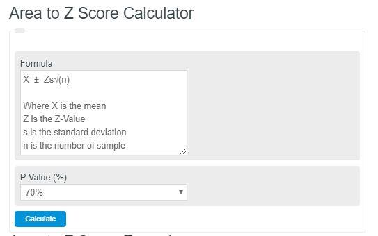area to z score calculator