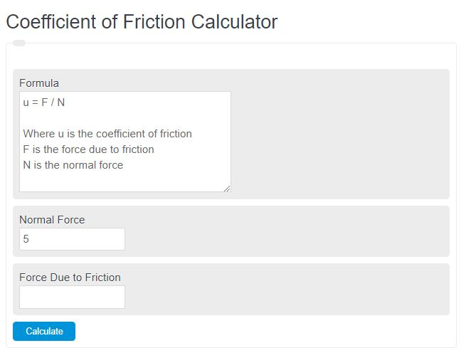 coefficient of friction calculator