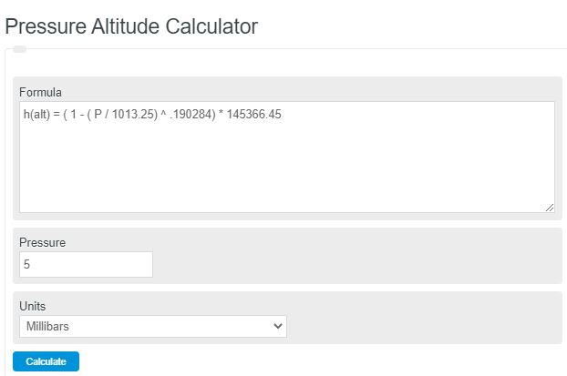 pressure altitude calculator