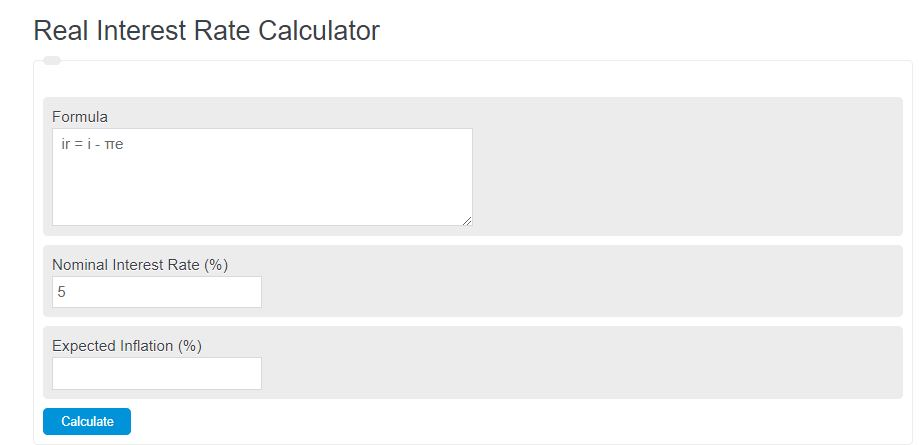 real interest rate calculator