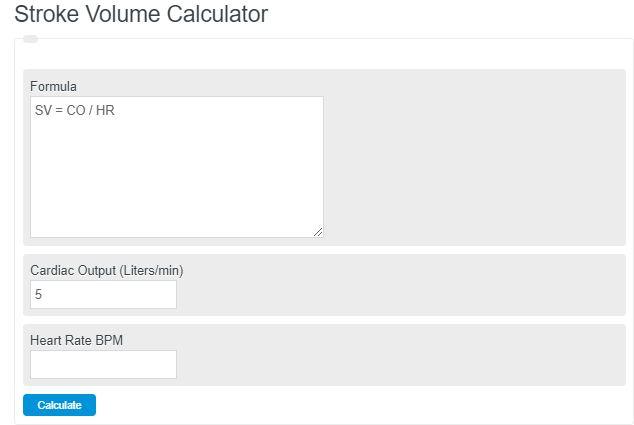 stroke volume calculator