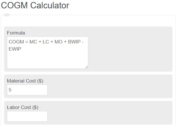 cost of goods manufactured calculator