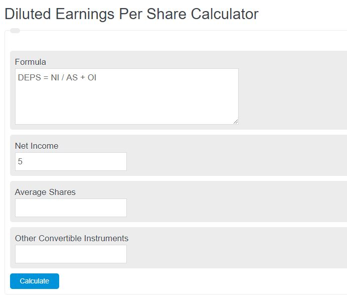 diluted earnings per share calculator