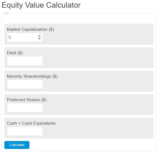 equity value calculator