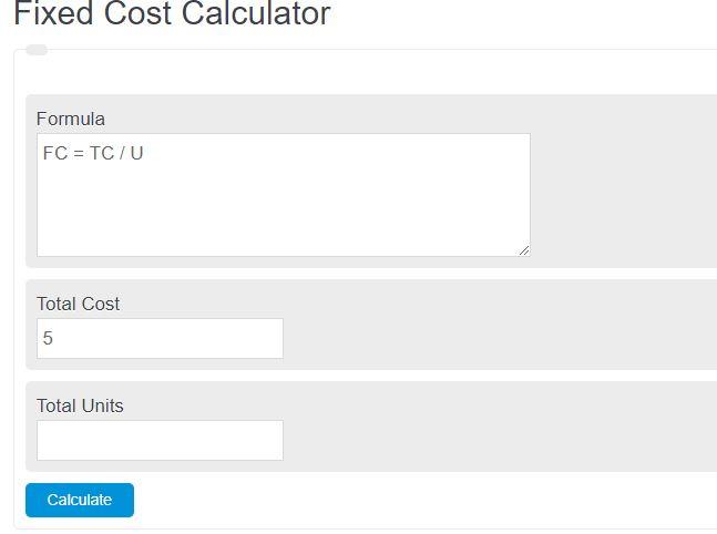 fixed cost calculator