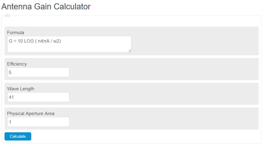 antenna gain calculator