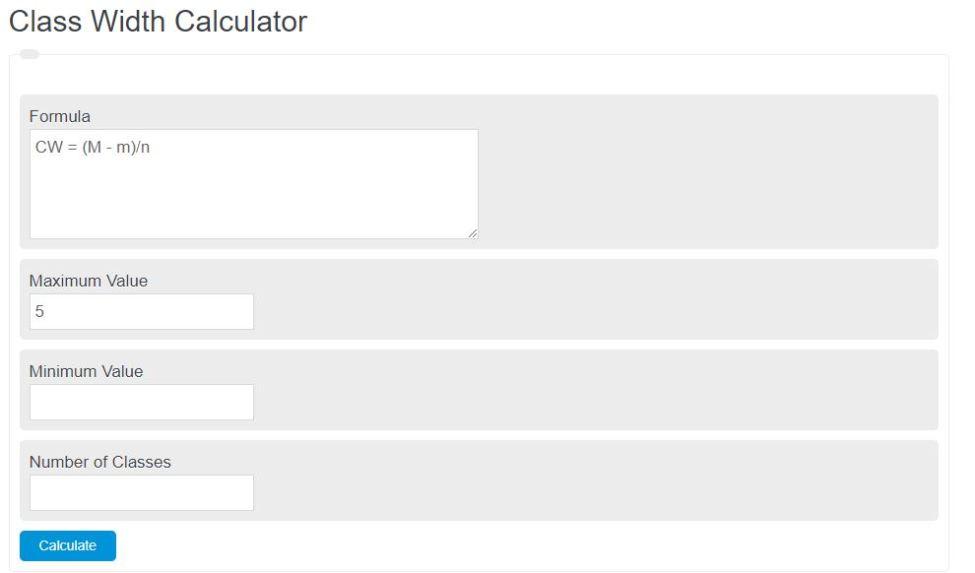 class width calculator