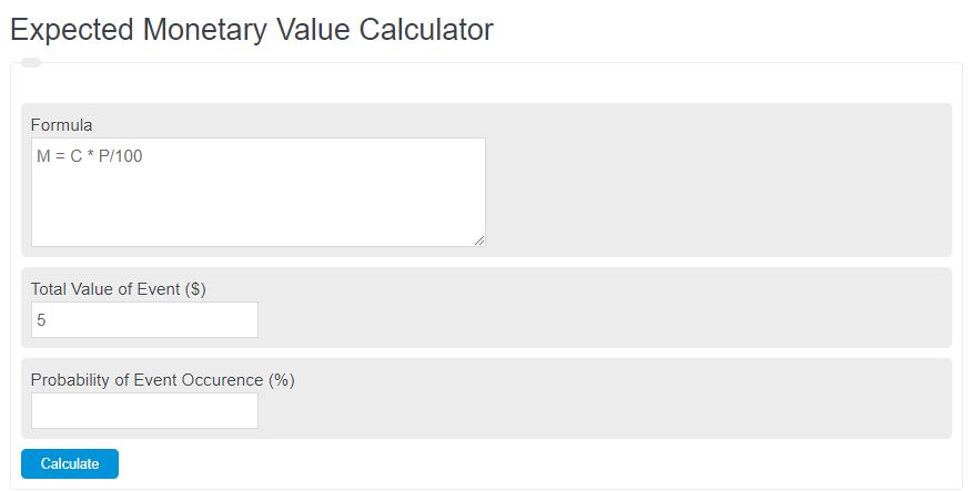 expected monetary value calculator