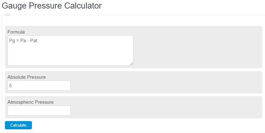 gauge pressure calculator