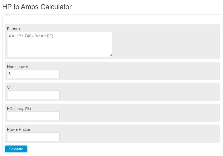 hp to amps calculator