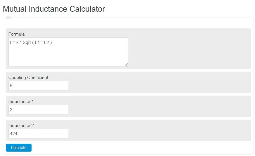 mutual inductance calculator