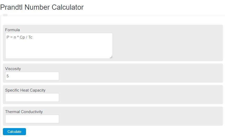 prandtl number calculator
