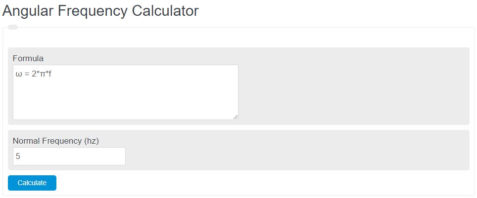 angular frequency calculator