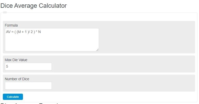 dice average calculator