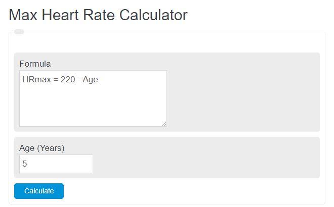 max heart rate calculator