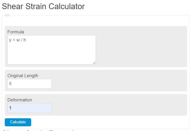 shear strain calculator