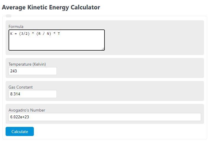 average kinetic energy calculator