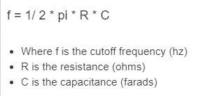 cutoff frequency formula