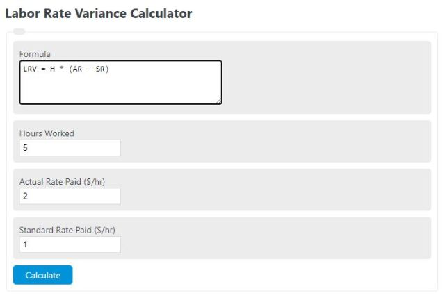 labor rate variance calculator