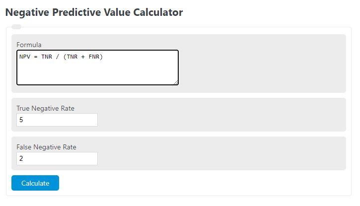 negative predictive value calculator