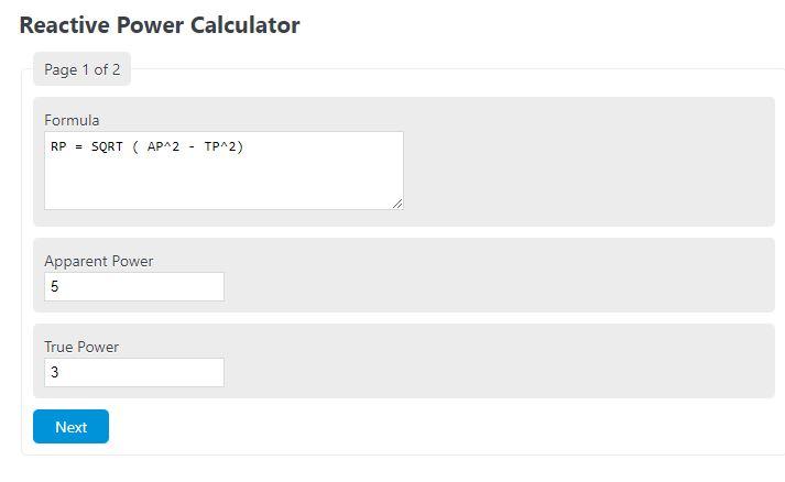 reactive power calculator
