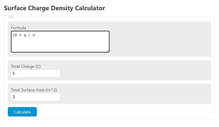 surface charge density calculator