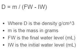 water displacement formula
