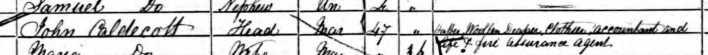 CALDECOTT John 1861 Census