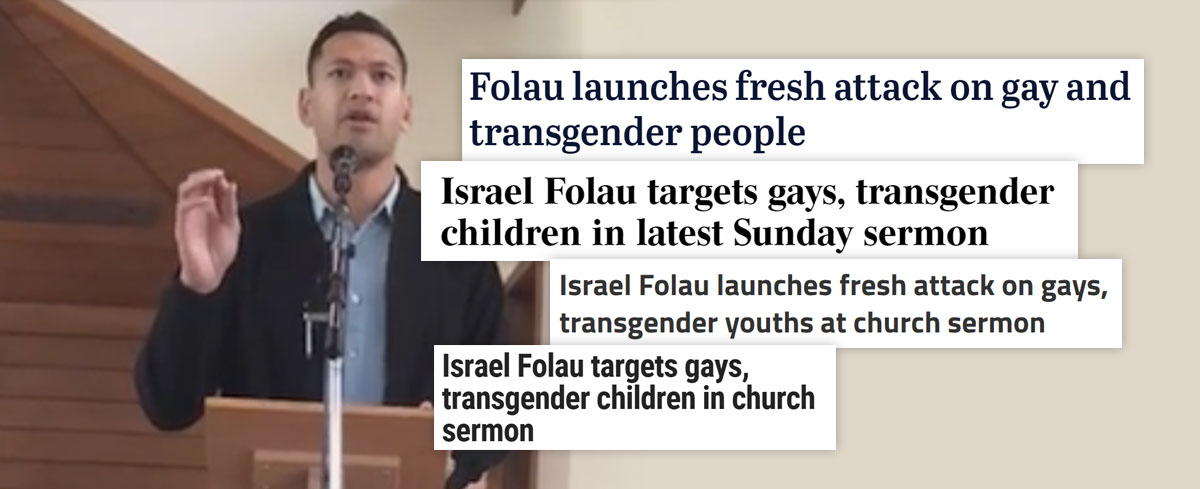 Media renews attacks on Israel Folau, now they're going after him in his church