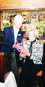 Bethell Hospice Foundation Co-chair Tim Powell presented the Lorna Bethell Legacy Award to Anne Livingston last Thursday at the Foundation's Giving Thanks event.