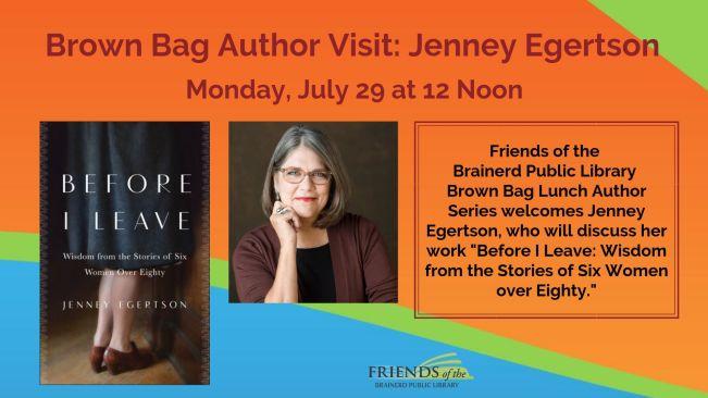 Flyer for Brown Bag Author visit.