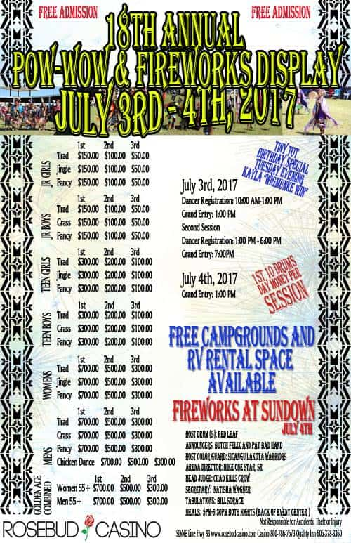 Rosebud Casino 18th Annual Wacipi And Fireworks Display