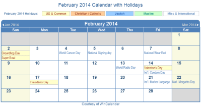 Print Friendly February 2014 US Calendar for printing