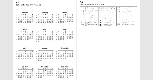 2020 Full Year Calendar with Canada Holidays