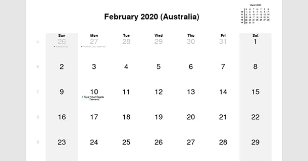 February 2020 Calendar with Australia Holidays