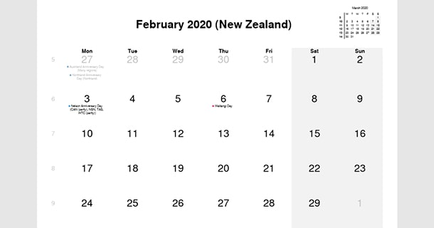 February 2020 Calendar with New Zealand Holidays