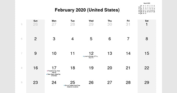 February 2020 Calendar with US Holidays
