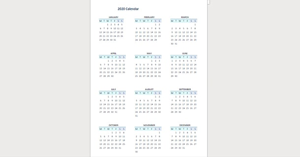 Planner 2020 Full Year Calendar Word