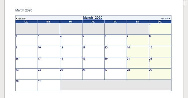 Editable March 2020 Calendar Word