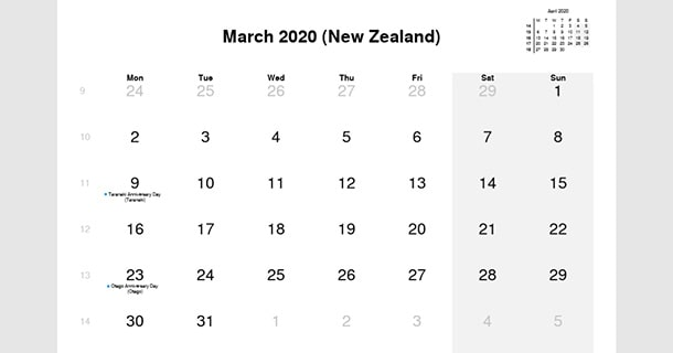 March 2020 Calendar with New Zealand Holidays