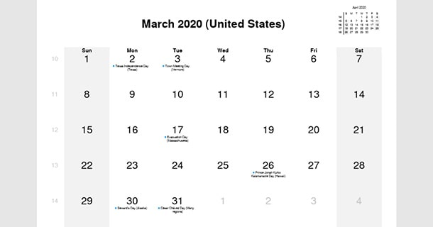 March 2020 Calendar with US Holidays