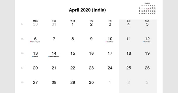 April 2020 Calendar with India Holidays