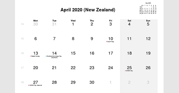 April 2020 Calendar with New Zealand Holidays