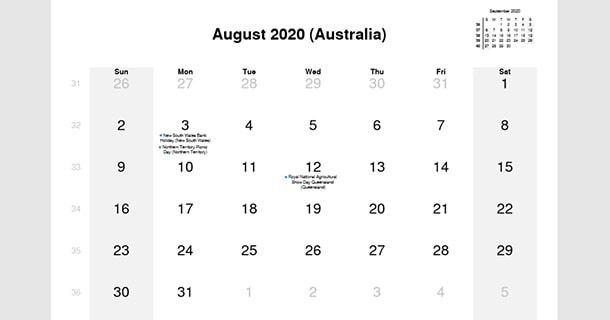 August 2020 Calendar with Australia Holidays