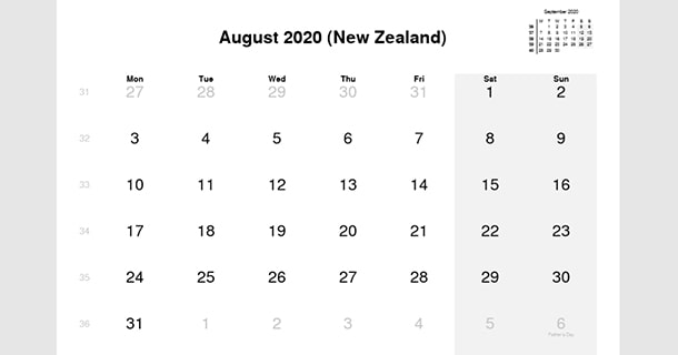 August 2020 Calendar with New Zealand Holidays