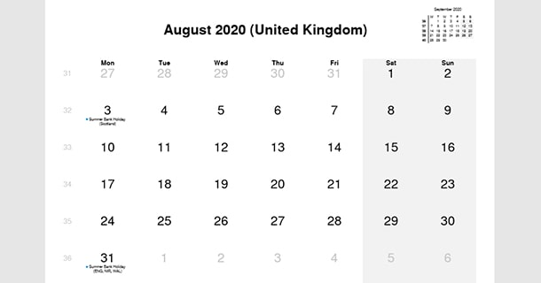 August 2020 Calendar with UK Holidays
