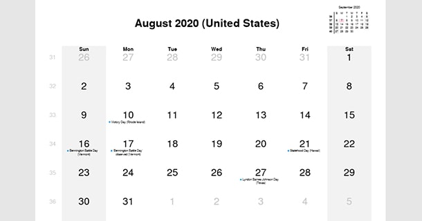 August 2020 Calendar with US Holidays