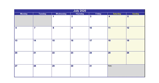 Editable July 2020 Calendar Excel
