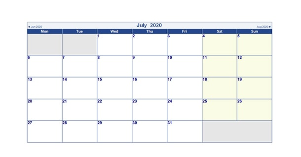 Editable July 2020 Calendar Word