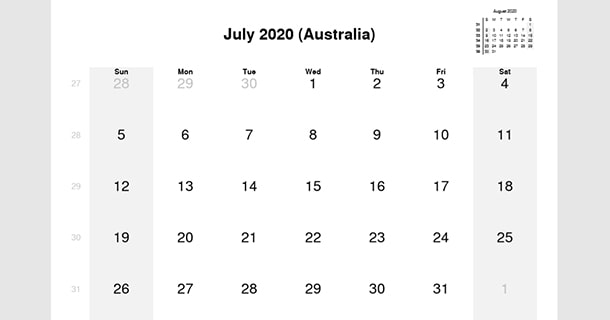 July 2020 Calendar with Australia Holidays